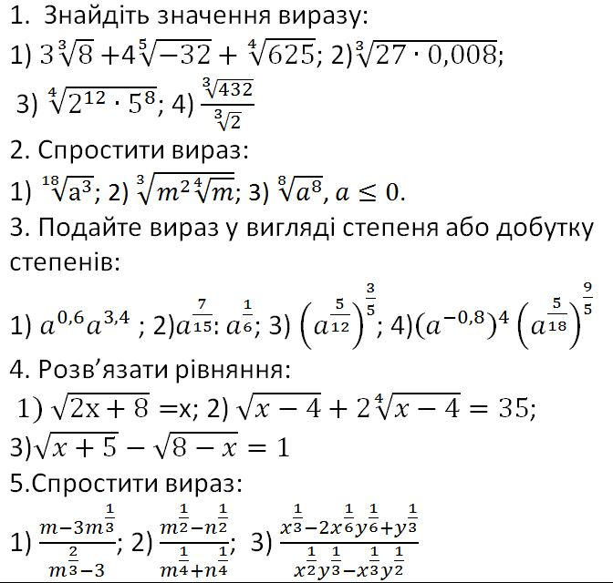 10 клас-2017. Практична робота № 3 з алгебри. Степенева функція