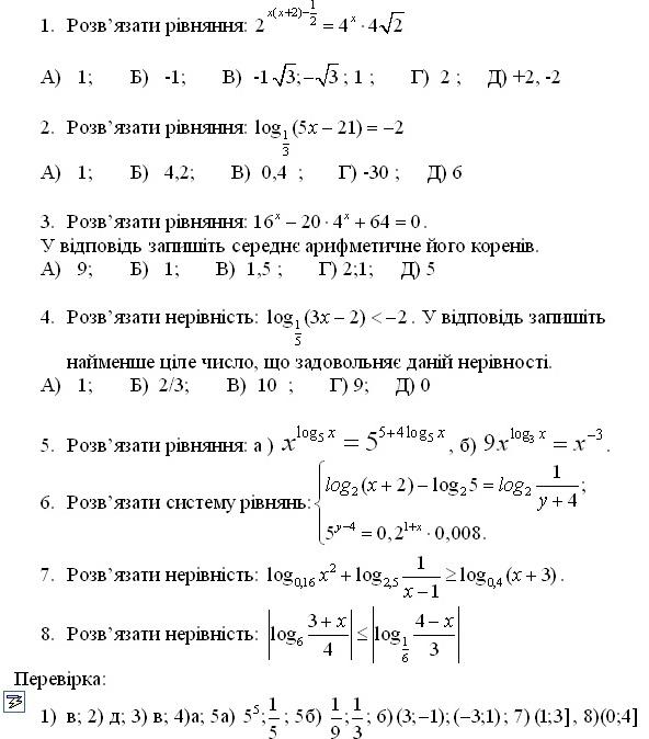 Показникова та логарифмічна функції( до к.р.