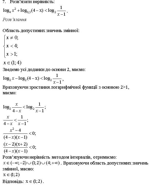 Показникові та логарифмічні рівняння та нерівності 7