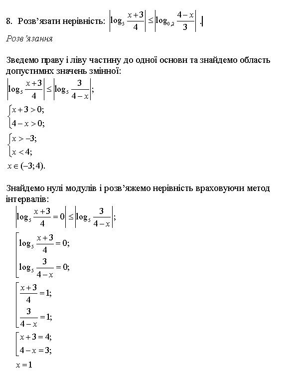 Показникові та логарифмічні рівняння та нерівності 8