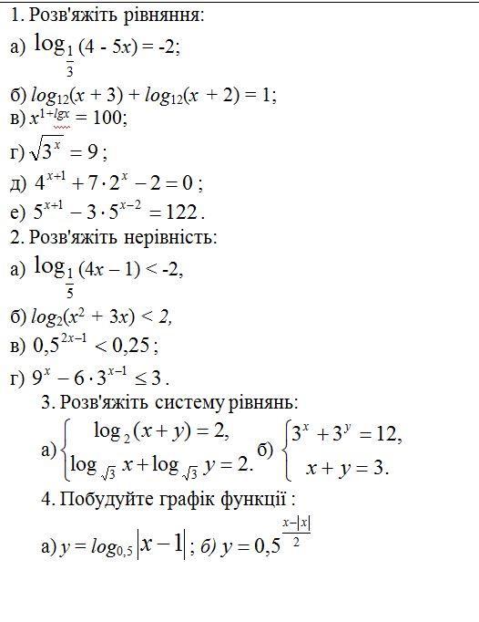 Показникова та логарифмічна функції. До к.р.